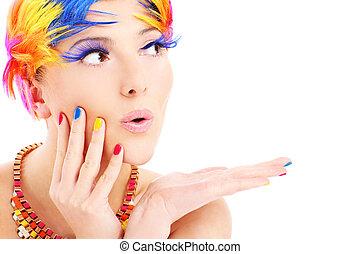 color, pelos, cara mujer