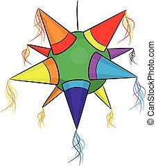 Color piñata mexicana, estrella en forma para fiestas