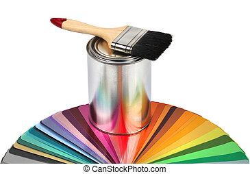 color, pincel, muestras, guía