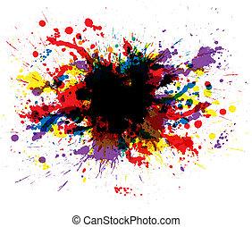 color, pintura, salpicaduras
