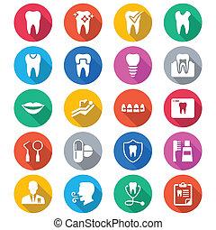 color, plano, dental, iconos