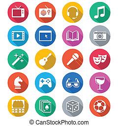 color, plano, entretenimiento, iconos