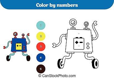 Color por número, juego de educación para niños. Página de color, actividad de dibujar niños. Robot