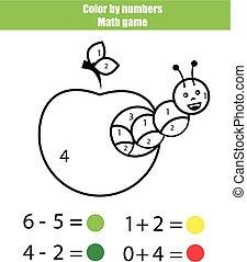 Color por número. Juego de matemáticas. Página de color con oruga