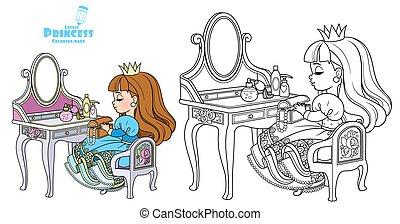 color, princesa, colorido, contorneado, aliño, lindo, sentado, libro, tabla, atrás