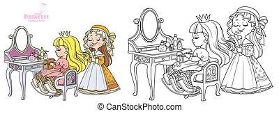 color, princesa, colorido, contorneado, sentado, aliño, libro, tabla, cardadura, atrás, pelo, criada