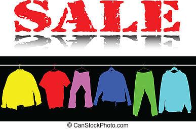 color, ropa, venta, ilustración