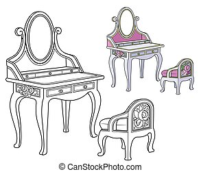 color, rosas, barroco, adornado, silla, contorneado, aliño, libro colorear, tabla, pequeño