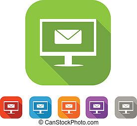 Color set de icono de correo plano