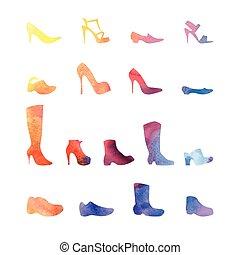 Color set de zapatos diferentes