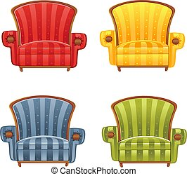 color, sillón, brillante, vector