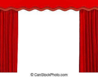 color, teatral, cortina roja