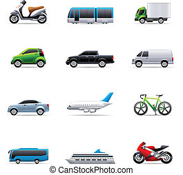 color, -, transporte, iconos