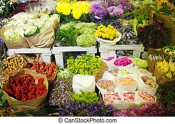 color, venta al por mayor, flores, multitud, mercado