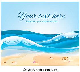 color, verano, playa, ilustración, océano