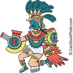 color, versión, azteca, dios
