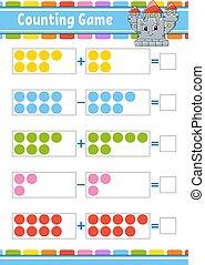 color, worksheet., revelado, children., subtraction., aislado, vector, caricatura, actividad, tarea, kids., juego, illustration., divertido, educación, page., style., adición, character.