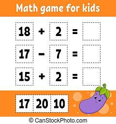 color, worksheet., revelado, página, style., children., divertido, pictures., aislado, juego, vector, caricatura, character., illustration., actividad, matemáticas, kids., educación