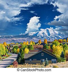 colorado, otoño, vecindad, residencial