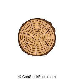 coloreado, anillos, tronco, sierra, vector, árbol, corte, icono