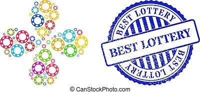 coloreado, centrífugo, textured, mejor, lotería, casino, sello, astilla, movimiento