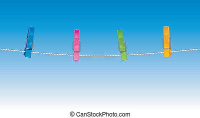 coloreado, clothespins