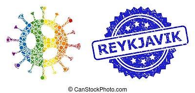 coloreado, reykjavik, lgbt, geométrico, 2019-ncov, textured, virus, estampilla, mosaico
