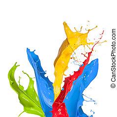 coloreado, salpicaduras, plano de fondo, aislado, pintura, blanco