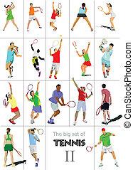 coloreado, vector, illu, player., tenis