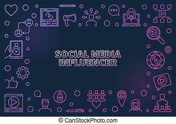 coloreado, vector, medios, marco, lineal, influencer, social, concepto