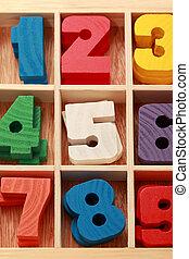 coloreado, vertical, de madera, edad, juego, números, señales, menor, matemáticas