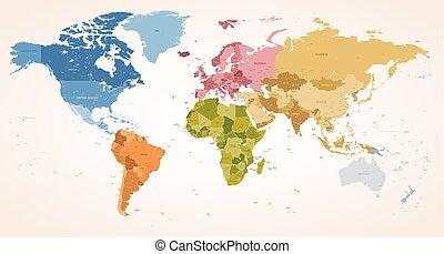 Colores antiguos vector de mapa político del mundo