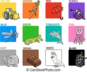 colores, conjunto, primario, caricatura