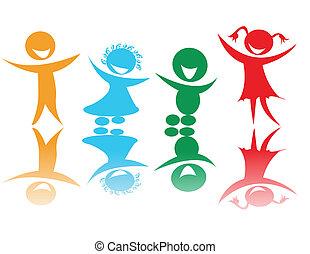 colores, niños, feliz