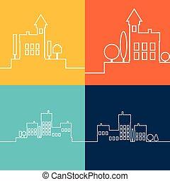 Colores planos del paisaje urbano