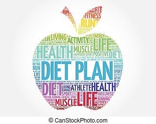 Colorida dieta plan manzana