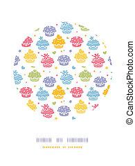 Colorida fiesta de pastelillos, decoración de círculos