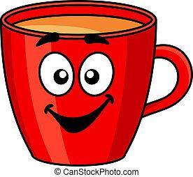Colorida taza roja de café