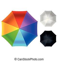 Colorida vista de sombrilla aislada en ilustración de vectores blancos