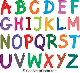 Coloridas letras mayúsculas alfabeto