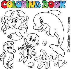 colorido, animales 2, vario, mar, libro