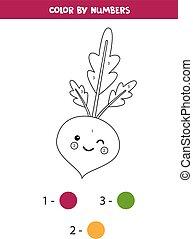 colorido, beetroot., página, kawaii, números, lindo