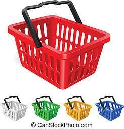 colorido, cesta, compras
