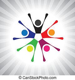 colorido, comunidad, amigos, también, juego, diversión, vibrante, simple, friendship-, teniendo, vector, niños, celebrar, graphic., lata, reunión, excitado, niños, ilustración, gente, representar, esto