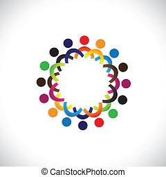 colorido, comunidad, conceptos, juego, amistad, empleado, gente, social, exposiciones, vector, y, uniones, diversidad, compartir, icons(symbols)., niños, trabajador, ilustración, graphic-, como, concepto, etc