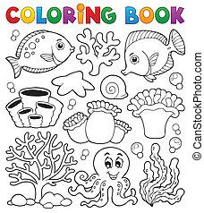 colorido, coral, tema, libro, arrecife, 2