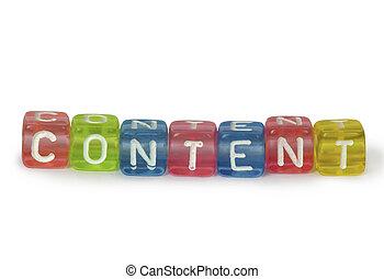 colorido, cubos, texto, de madera, contenido