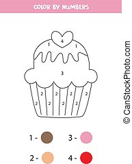colorido, cupcake., kids., numbers., caricatura, página, lindo, color