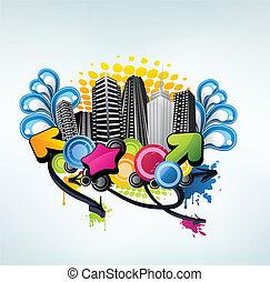 Colorido diseño de la ciudad