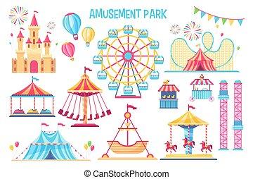colorido, diversión, conjunto, parque, elementos, plano